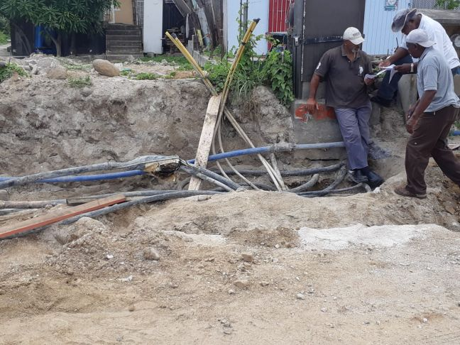 Sub-contractors were drafted in by TelEm Group, Friday, to begin repair work on damaged telecommunication cables and telephone cabinet in Dutch Quarter.