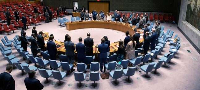 UN Photo/Evan Schneider The Security Council observes a moment of silence during an emergency meeting on the situation in Libya, convened after a car bomb attack in Benghazi killed three United Nations staff members and injured two others, among scores of injured Libyan nationals.