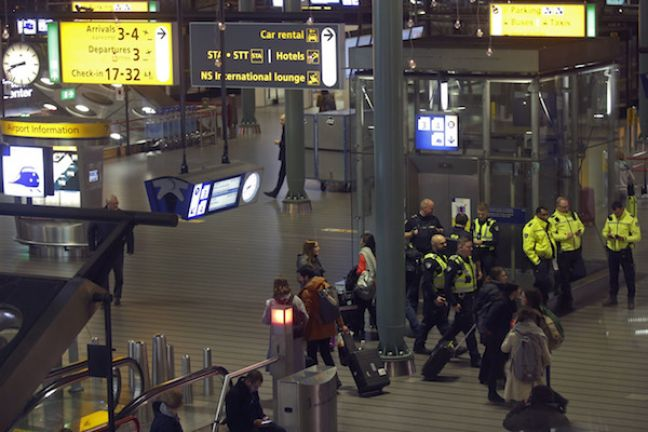 Military police at Schiphol after the scare. Photo: AP Photo/Peter Dejong via HH