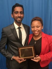 L-R, Yash Rajani, K1 Project Manager and Chiaira Bowers, K1 Project Manager holding the appreciation award.