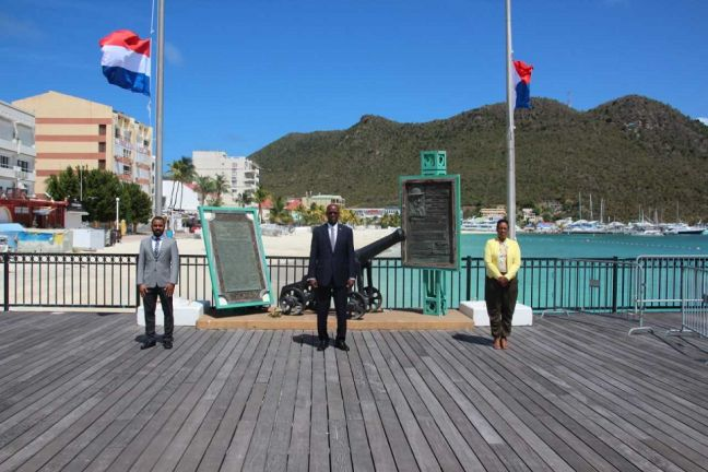 L to R: President of Parliament Rolando Wilson, His Excellency Governor Eugene Holiday, and Prime Minister Silveria Jacobs.