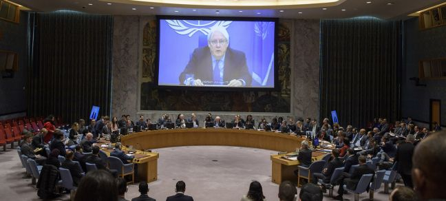 UN Photo/Loey Felipe Martin Griffiths (on screen), Special Envoy of the Secretary-General for Yemen, briefs the Security Council on the situation in Yemen. 9 January 2019.