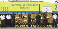Fire fighters and officers of the SXM Airport Rescue and Fire-Fighting Department during Firemen's Week 2014. (SXM photo)
