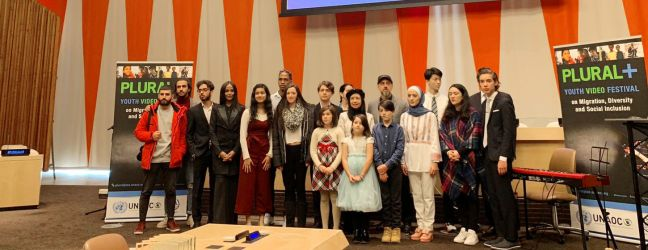 UNAOC PLURAL+ Youth Video Festival winners at UN Headquarters who were selected for their coverage of migration, diversity and social inclusion. The winning-videos were chosen among 1200+ submissions from almost 70 countries.
