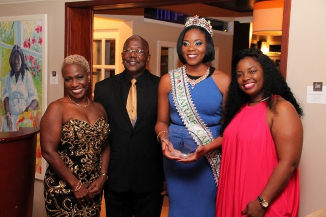 L to R – Mrs. Gabrielle Marlin, Prime Minister William Marlin, Queens Crystal Award Recipient Miss Mature Norrisa Anatol, President Posh Productions Anna Rabess- Richardson.