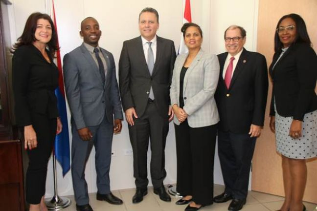 L to R: Leila Matroos-Lasten - Directeur Secretaris, Minister of Finance Ardwell Irion, Jose Jardim – Interim President CBCS, Raquel Lo Fo Wong – Director CBCS St. Maarten, Ron Gomes Casseres – Advisor to the Board of Directors, and Nihaila Eustachia – Executive assistant to the Board of Directors.