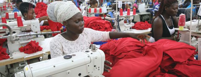 World Bank/Dominic Chavez Factory workers in Accra, Ghana, producing shirts for international markets. (file)