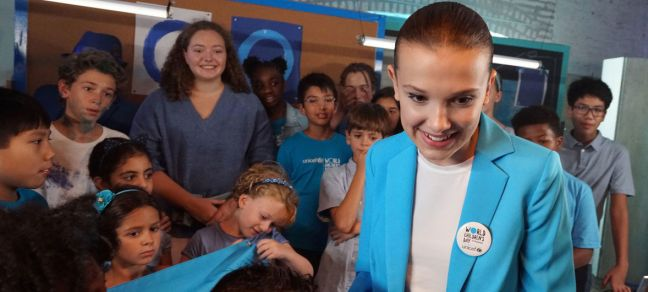 UNICEF/UN0248272/Clarke UNICEF supporter Millie Bobby Brown in New York on the set of a video produced for World Children's Day 2018.