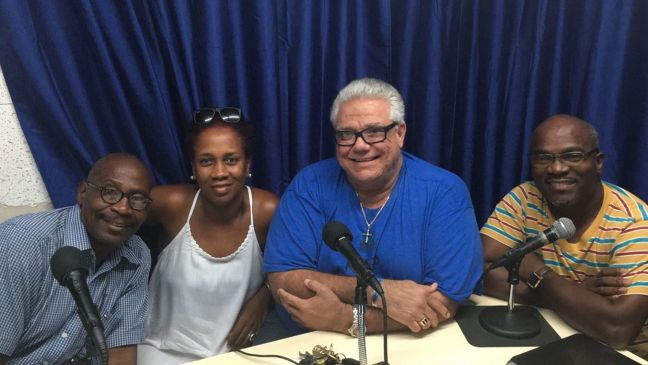 "From left: Marvin ""King Stunky"" Dollison, Cheryl Arnell, Claudius ""Toontje"" Buncamper and Rolando Tobias."