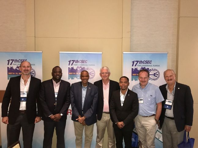 L- R, Mark Lopez – Tropical Shipping Assistant Vice President, Roger Lawrence – Port St. Maarten representative, Stephen Bell – Seaboard Marine Regional Vice President, Rick Murrell – Saltchuck representative, Alexander Gumbs – Port St. Maarten representative, Tom Paelinck – Caribbean Feeder Service Executive Vice President, and Fernando Rivera – Caribbean Shipping Association General Manager.