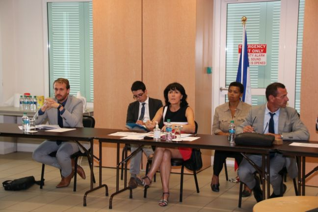 French Saint-Martin Prefecture delegation on Thursday, during the meeting with the Sint Maarten delegation headed by Prime Minister Silveria Jacobs.
