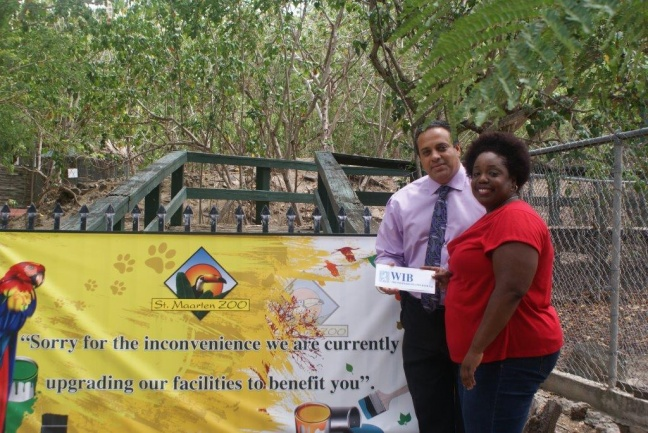 L to R, Amy Arrindell (Vice President-St. Maarten Zoo)) and Ferdinand Beauperthuy (WIB's Marketing Manager)