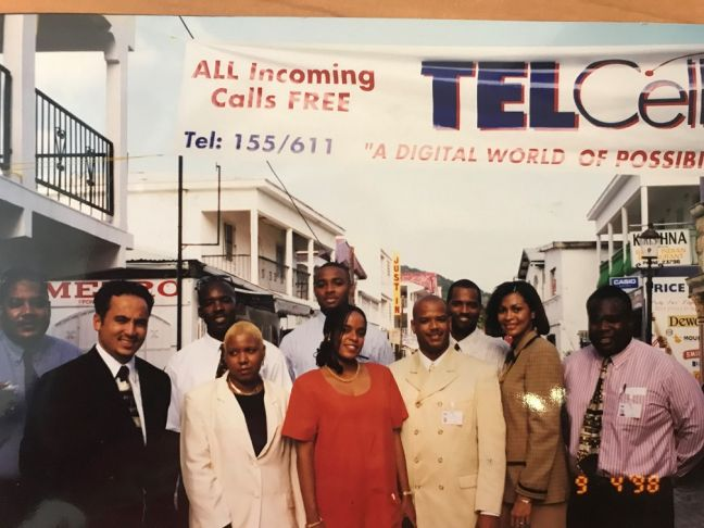 Network Engineer, Earlston Thomas, (right) with some of the original pioneering TelCell mobile team at the launching of St. Maarten's first Digital mobile service in 1998.