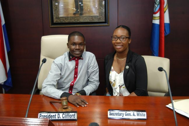 David Clifford, President of the Sint Maarten Youth Parliament (left).
