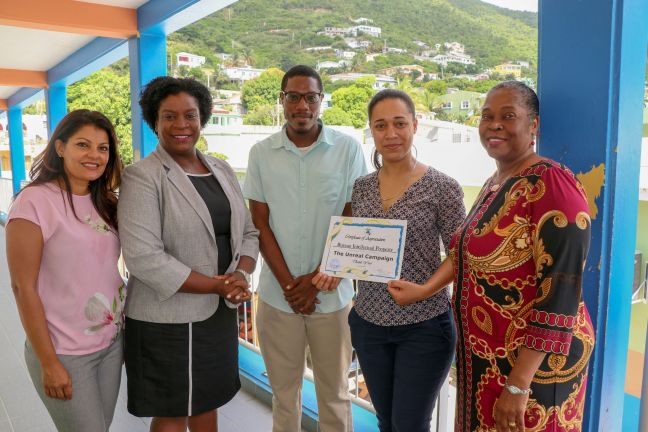 Left to right: Mrs. Aarti Jusia-Ramdihal (Deputy-Director BIP), Mrs. Rita Bourne Gumbs (Director of the Sint Maarten Vocational Training School (SMVTS), Mr. Vicario Ellis (Social Worker at the SMVTS), Mrs. Vincentia Rosen-Sandiford (Director BIP), Ms. Dorothy Dee (Management staff SMVTS).