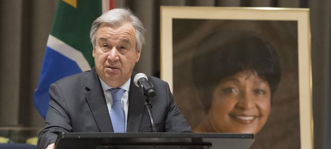 UN Photo/Eskinder Debebe Secretary-General António Guterres speaks at a special memorial service to honour Winnie Madikizela-Mandela, who passed away on 2 April.