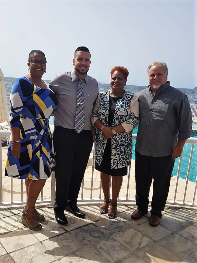 From the left Director of Operations/Human Resources for Oyster Bay Beach Resort Mirugia Brown, Minister of Tourism Economic Affairs, Traffic & Telecommunications (TEATT), Stuart Johnson, Senior Policy Advisor in the Ministry of TEATT Regina Labega, and Oyster Bay Beach Resort General Manager Ricardo Perez.