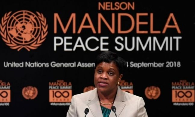 Prime Minister Leona Romeo Marlin addressing the gathering at the Nelson Mandela Peace Summit.