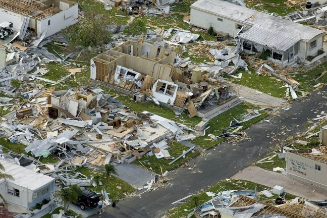 Photo of a residential area that was devastated by a hurricane.