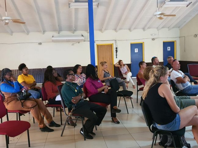 "On the picture: the informative session with the tourism sector on the draft road map on Wednesday, March 31st, 2021, at the Mike van Putten Youth Center (Lions Den). ""Het Eilandelijk Bijstands Team"" (EBT) was informed on Monday, March 29th, 2021 and the business sector was informed on Thursday, April 1st, 2021 ."