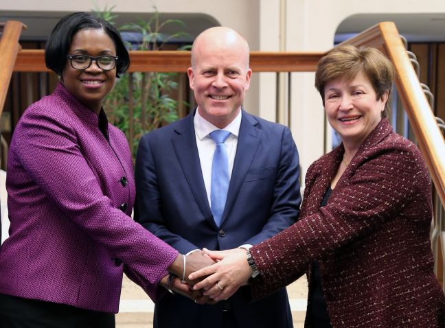Minister of Finance Michael Ferrier, Prime Minister Leona Romeo-Marlin, State Secretary for the Interior and Kingdom Affairs of the Netherlands, Raymond Knops & World Bank's Chief Executive Officer Kristalina Georgieva.