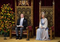 The king and queen in the Knights Hall. Photo: Frank van Beek / Hollandse Hoogte