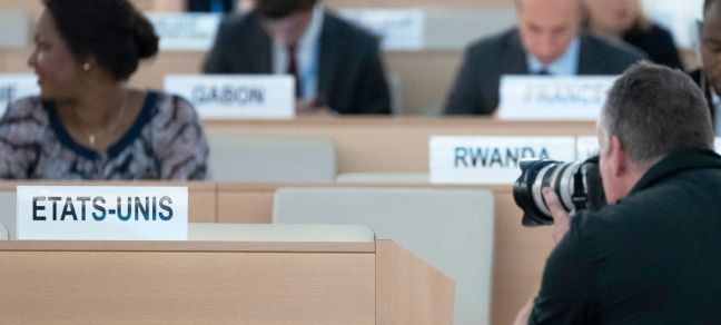 UN Photo/Jean-Marc Ferre The seat vacated by the United States of America at the Human Rights Council in Geneva. 20 June 2018.