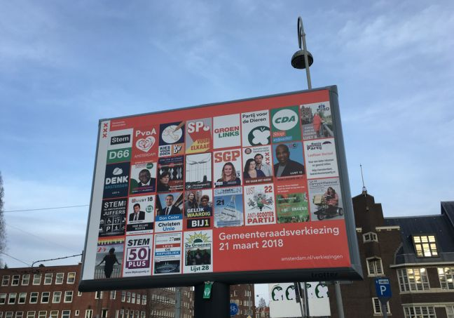 Campaign posters in Amsterdam. Photo:DutchNews