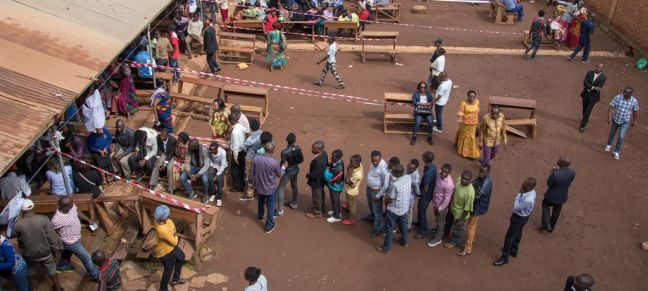 MONUSCO/Alain Likota Voters lining up in front of polling stations during Presidential and Legislative elections in the Democratic Republic of the Congo (30 December 2018).