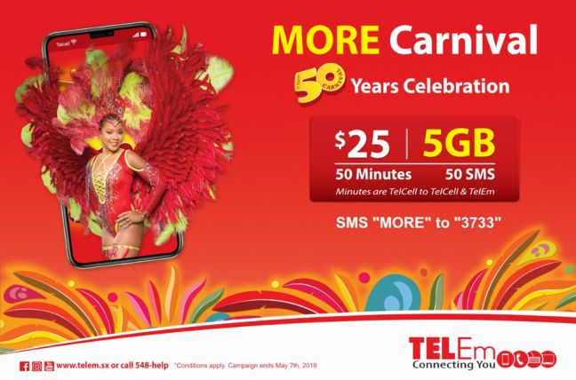TelEm Group wants all prepaid Carnival 50 revelers to have all the data they need to capture images and sounds of St. Maarten's Milestone celebrations during the month of April.