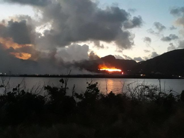 Pond Island Landfill, second major fire within a couple days. (Photo contributed)