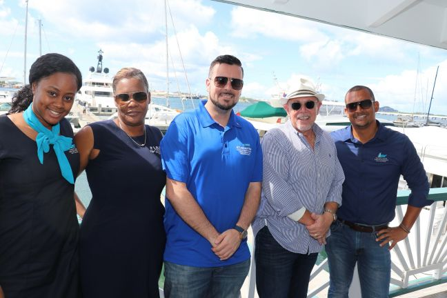 Minister Stuart Johnson (3rd from left) along with representatives from the marine sector.