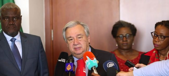 screen grab/media stakeout video UN Secretary-General speaks to the media in Addis Ababa, Ethiopia, following a meeting with the Chairperson of the African Union Commission. 9 February, 2019.