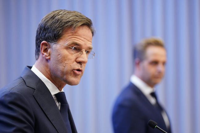 Mark Rutte and Hugo de Jonge during the press conference. Photo: Phil Nijhuis ANP