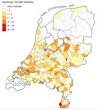 Locations of Covid-19 deaths reported in the last 14 days. Source: RIVM