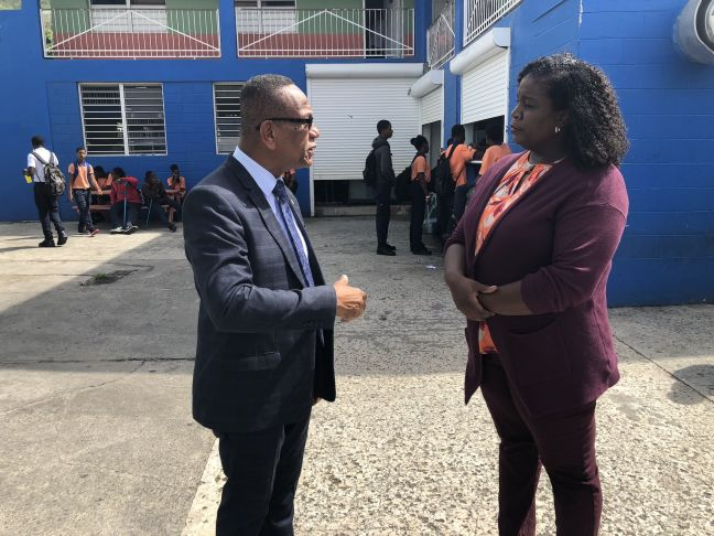 L to R: Minister of Education Wycliffe Smith and Rita Bourne-Gumbs, SMVTS School Manager.