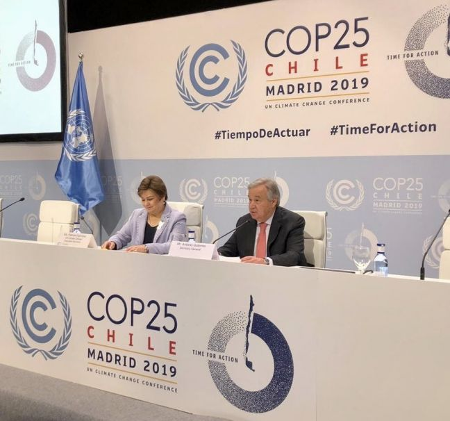 UNFCC flickr The UN Secretary-General makes remarks at a pre-COP25 UN climate change conference press conference in Madrid on 1 December, 2019.