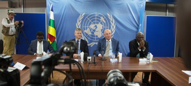 MINUSCA Jean Pierre Lacroix, USG of UN Peace Operations, and Smail Chergui, AU Commissioner for Peace and Security, (center left and right) during their closing press conference after a two days visit in CAR to relaunch the dialogue between the government of the Central African Republic (CAR) and armed groups under the auspices of the African Union (AU) initiative.