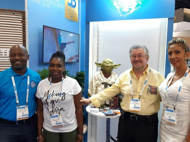 L to R: Anastacio Baker, Crystal Coombs, Nick Maley and Paula Daal-Dono at SeatradeCruiseGlobal Exhibition Hall.