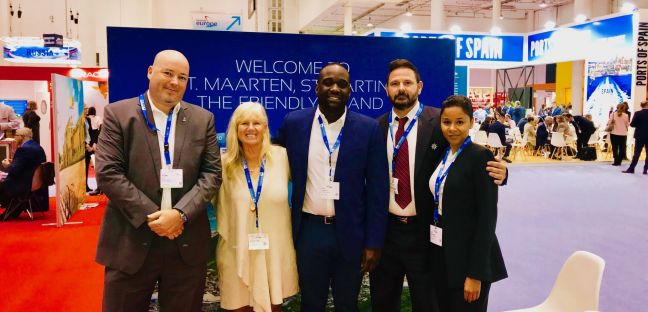 Representatives of Port St. Maarten, one of the FCCA partners with President of the FCCA Michele Paige (2nd from left) at Seatrade Europe.