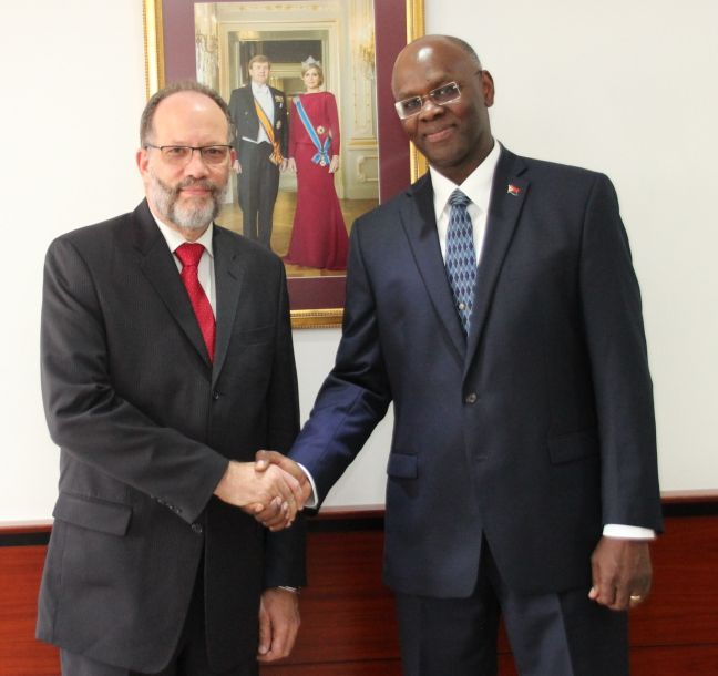 L to R: His Excellency Ambassador Irwin LaRocque, Secretary-General and Chief Executive Officer of CARICOM and Governor of Sint Maarten His Excellency Eugene B. Holiday.
