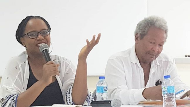 Acclaimed novelists Edwidge Danticat (L) and Earl Lovelace as panelists at the Presidents Forum, the symposium of the 16th annual St. Martin Book Fair, June 2, 2018. (Credit Nerissa Golden)