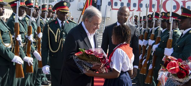 UN Photo/Eskinder Debebe Secretary-General António Guterres receives flowers on arrival in Maputo, capital of Mozambique. 11 July, 2019.
