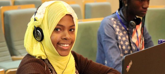UN Women/Faith Bwibo Khayrath Mohamed Kombo, 15, is one of more than 80 participants in the first Coding Camp in Addis Ababa, Ethiopia in August 2018.