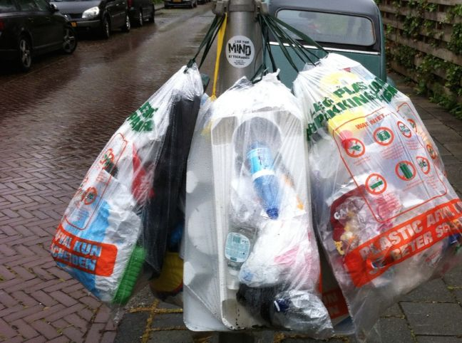 Plastic waste awaiting collection in Amstelveen. Photo: DutchNews