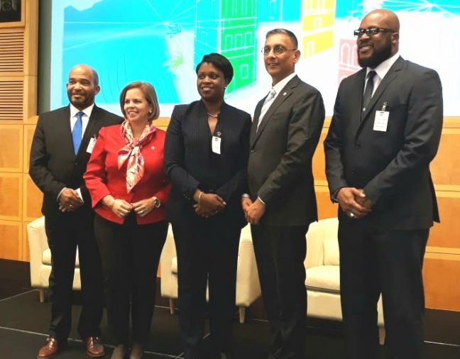 L to R – Curacao Minister of Finance-Kenneth Gijsbertha, Prime Minister of Aruba- Evelyn Wever-Croes, Prime Minister of Sint Maarten-Leona Romeo Marlin, Minister of Finance-Perry Geerlings and Minister of VROMI Miklos Giterson