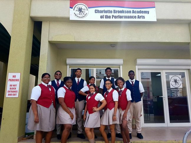CBA students posing outside of our new building located on Cannegieter street # 10, Philipsburg.