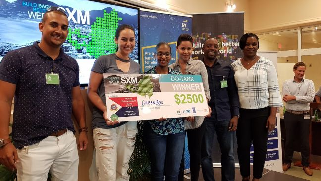 "Build Back Better SXM ""Do-Tank"" on Sunday. Prime Minister Leona Romeo Marlin standing with the winning participants."