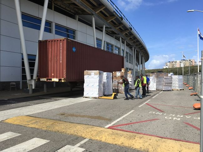 Materials being transported into the terminal building for the start of the remediation works.