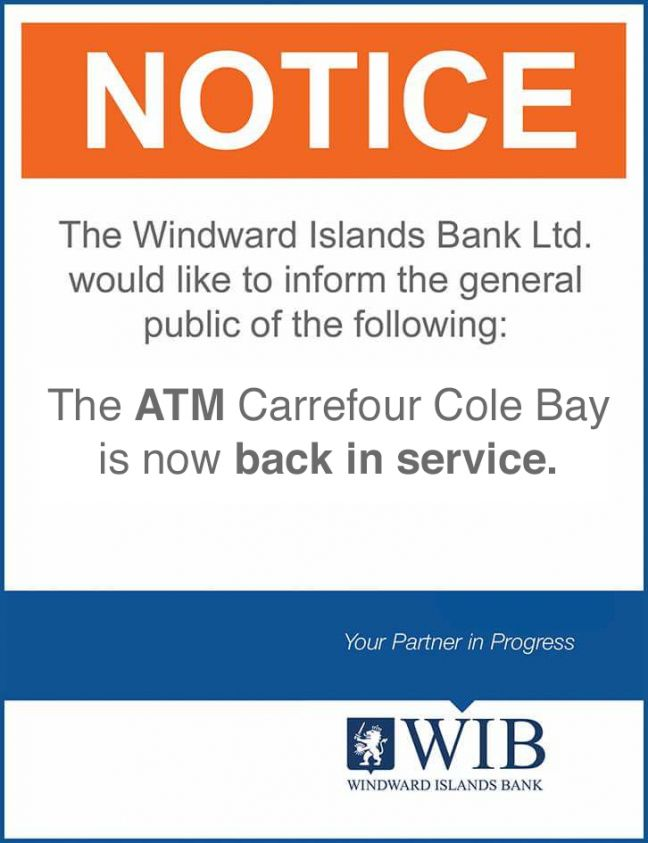 WIB ATM Carrefour Cole Bay Back in Service